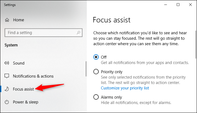 Focus Assist options in Windows 10's Settings