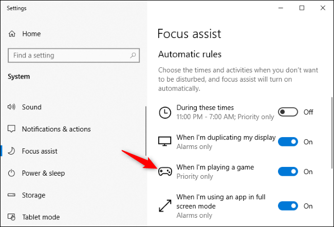 Viewing detailed automatic rule options for Focus Assist