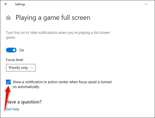 Disabling Cortana's Focus Assist notifications
