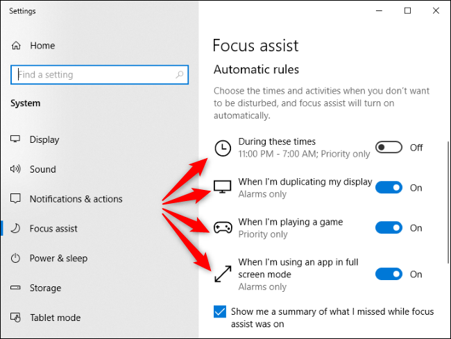 Focus Assist automatic rules in Windows 10