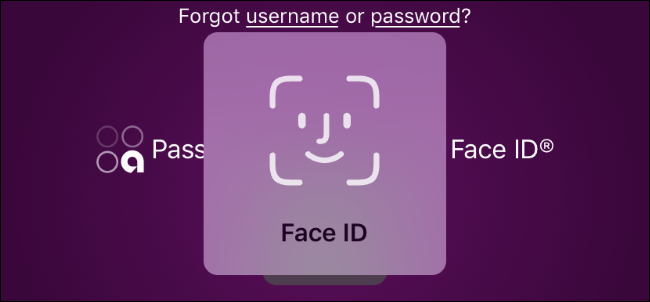 Face ID prompt for an online banking app on an iPhone.