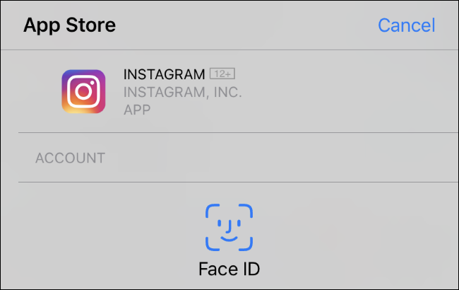 Face ID prompt for installing an app on an iPhone XR.