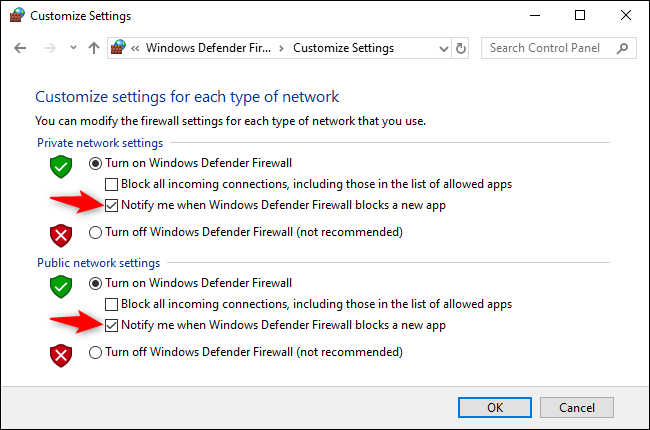 "Uncheck the ""Notify me when Windows Defender Firewall blocks a new app"" option under both Private and Public Network Settings."
