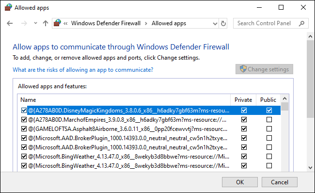 A Windows Defender Firewall allowed apps list.