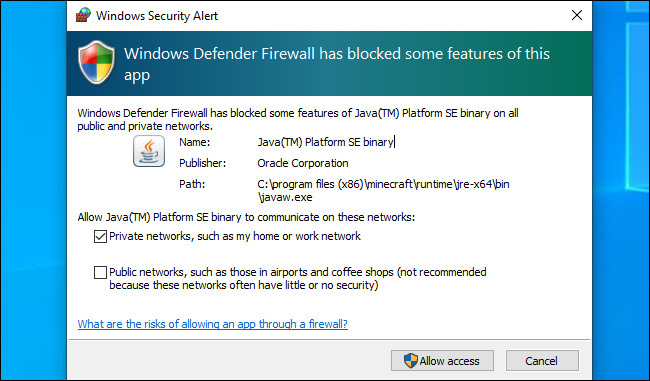 Windows Defender Security Alert on Windows 10.