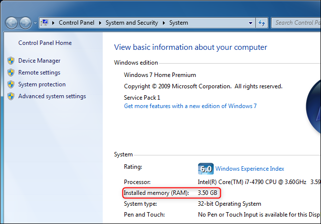 Viewing how much RAM a computer has on Windows 7