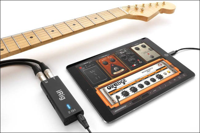 Guitar Connected to iRig HD2 and an iPad