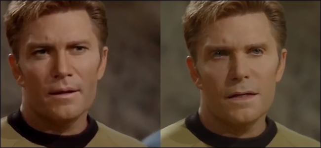 A scene from Star Trek with Captain Kirk played by Vic Mignogna. Fans created a deepfake of this scene where William Shatner's face is superimposed over Vic's. Ironically, Vic's face is the one that looks deepfaked.