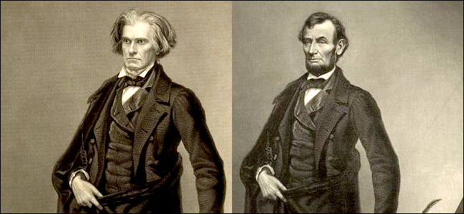 An etching of Calhoun next to an etching of Lincoln. Clearly, Lincoln's face has been superimposed on Calhoun's body. Otherwise, the etchings are identical.