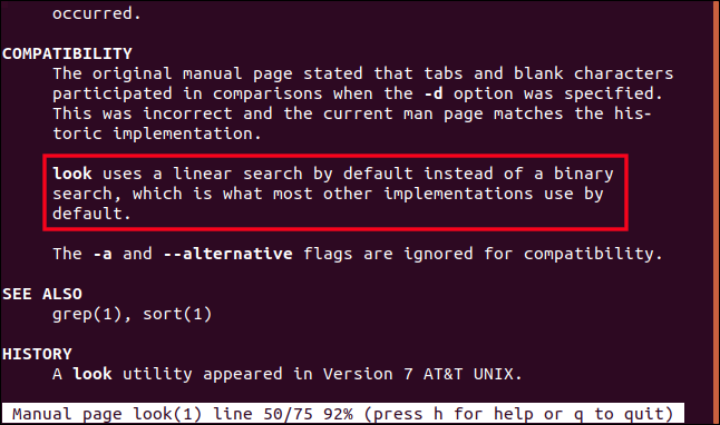 Ubuntu look man page in a terminal window.
