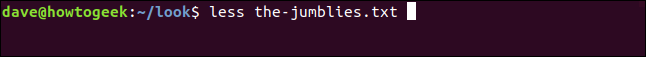 """less the-jumblies.txt"" in a terminal window."