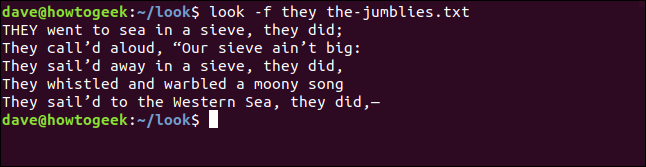 "Output from ""look -f they the-jumblies.txt"" in a terminal window."