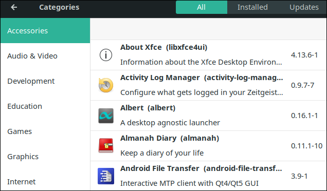 Manjaro package manager.