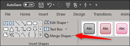 merge shapes option in shape format tab