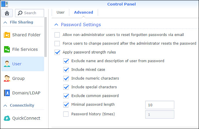 Control Panel password settings with most options checked.