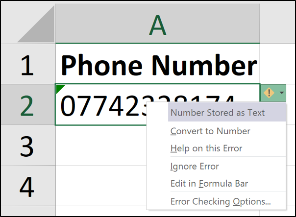 Phone number stored as text in Excel