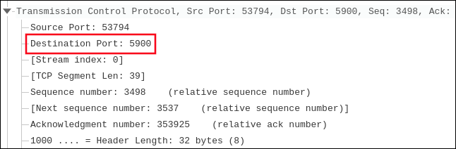 "Network trace showing ""Destination Port: 5900."""