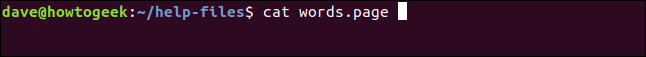 cat words.page in a terminal window
