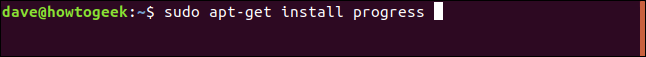 sudo apt-get install progress in a terminal window