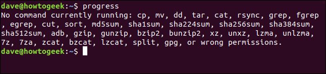 output of progress commmand in a terminal window