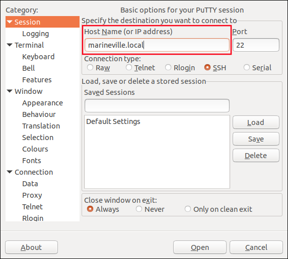 the PuTTY window with host details added