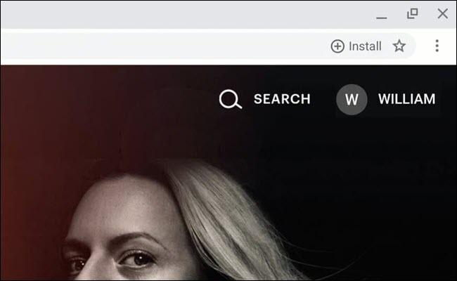 Google Chrome Omnibox, showing Progressive Web App install button.