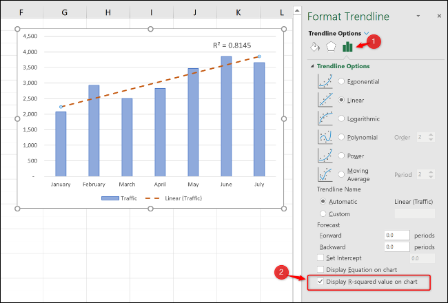 """Click the """"Trendline Options"""" category, and then check the """"Display R-squared value on chart"""" checkbox."""