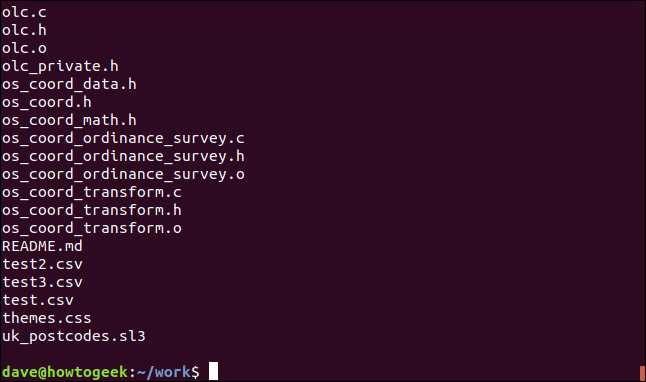 Filenames without quotation marks in a terminal window.