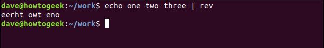 """echo one two three | rev"" in a terminal window."