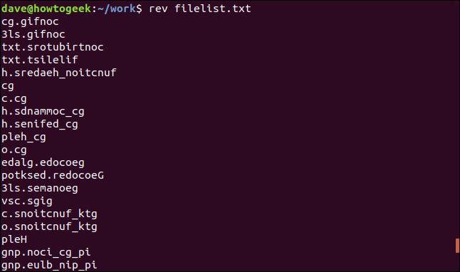 """rev filelist.txt"" in a terminal window."