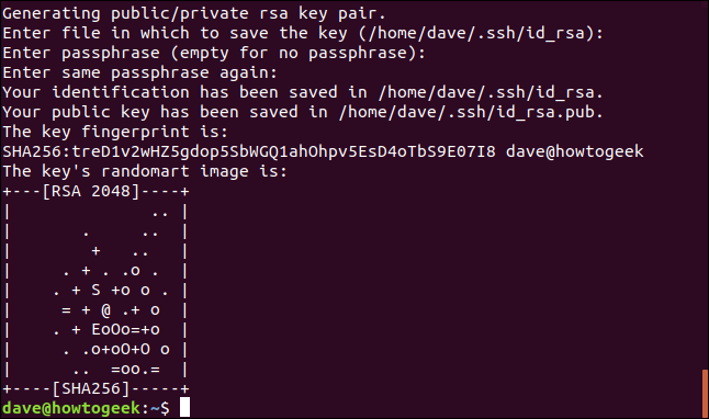 ssh key generation in a terminal window