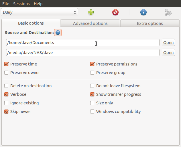 One of the Grsync settings dialogs,