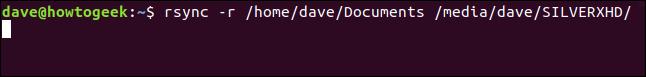 rsync -r /home/dave/Documents /media/dave/SILVERXHD/ in a terminal window