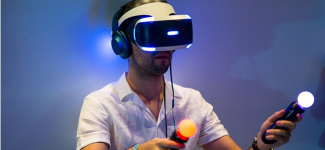 A man playing PSVR.