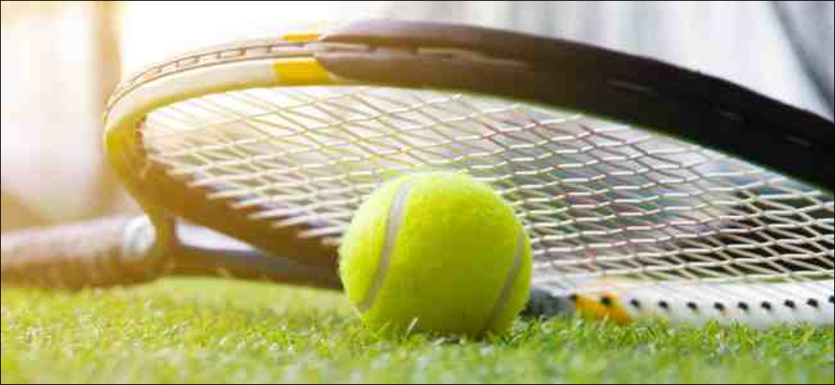 Tennis ball and racket on grass court