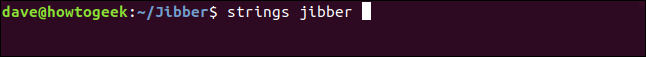 strings jibber in a terminal window