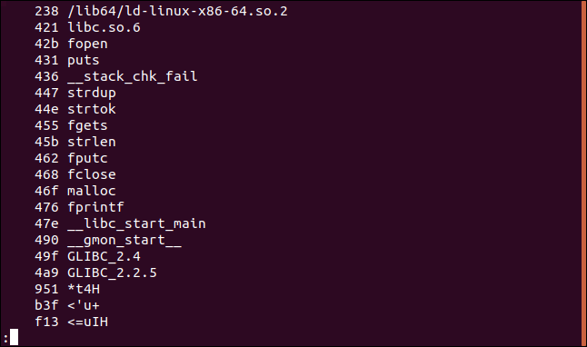 strings output with offsets in hexadecimal in a terminal window