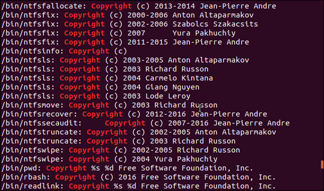 strings output showing copyright statements in a terminal window