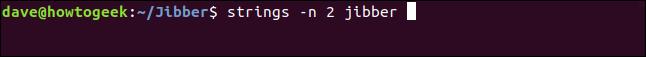 strings -n 2 jibber in a terminal window