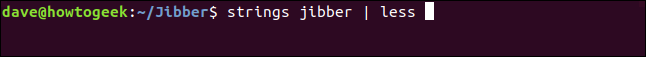 strings jibber | less in a terminal window