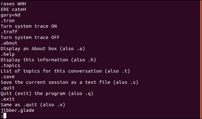 strings output in less in a terminal window