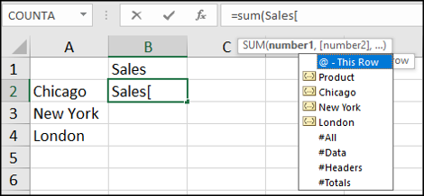 Using structured references in formulas