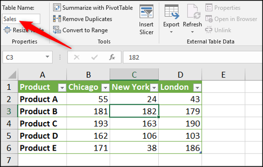 Assign a name to your Excel table