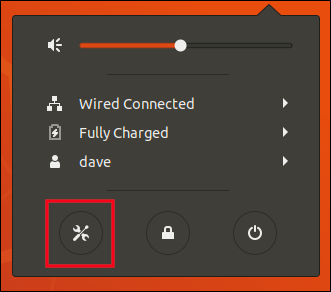 Click the settings icon on the system menu.
