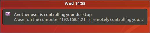 Conexión remota que notifica al usuario remoto que otro usuario está controlando su escritorio.