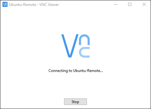 Splash screen in RealVNC as a connection is initiated.
