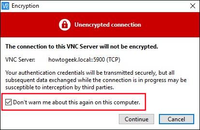 """Selecciona la casilla de verificación """"No volver a advertirme sobre esto en esta computadora""""."""