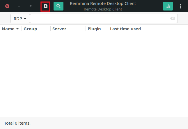 """Click the """"+"""" sign in the Remmina main window."""
