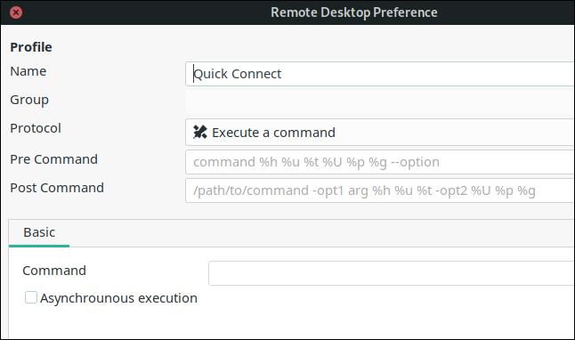 "The ""Remote Desktop Preference"" dialog."