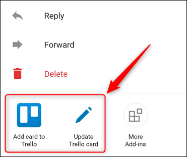 The Outlook mobile app, with the Trello add-in highlighted.